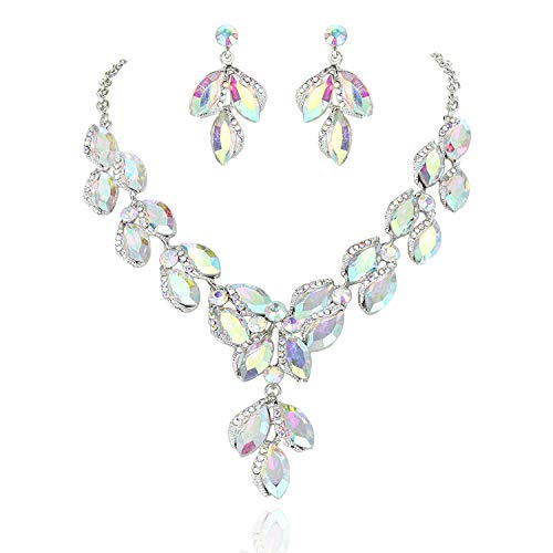 SP Sophia Collection Stunning Leaf Droplet Austrian Crystal Bridal Necklace and Earring in Silver and Iridescent