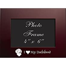 4x6 Brushed Metal Picture Frame-I love my Dachshund-Burgundy