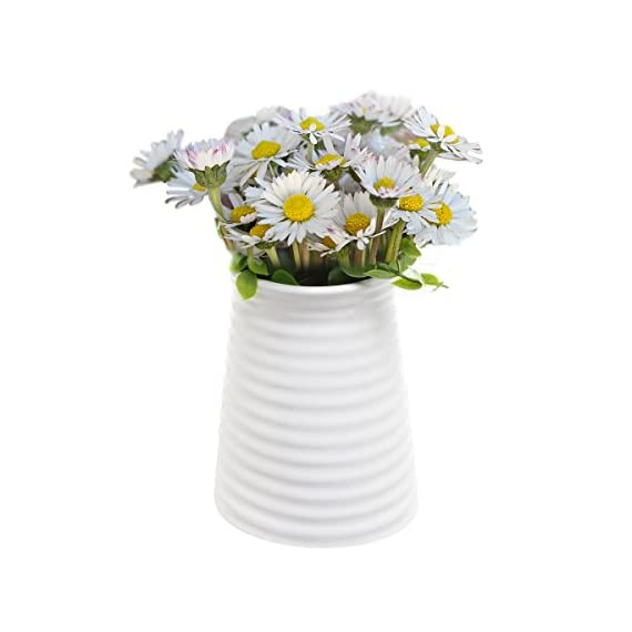 5.7-Inch Modern Ribbed Design Small White Ceramic Decorative Tabletop Centerpiece Vase/Flower Pot - An elegantly crafted small white ceramic decorative vase with distinctive lines on a bold silhouette Features a stylish ribbed exterior design made from glazed white ceramic, perfect for displaying flowers and other decorative items Petite size and contemporary design make this the ideal centerpiece for guest tables at your special event or even as a lavish addition to everyday decor - vases, kitchen-dining-room-decor, kitchen-dining-room - 41YgM3Axo7L. SS570  -