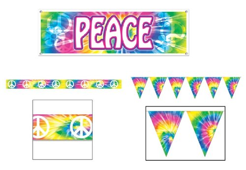 60's HIPPIE PEACE Party DECORATION Set/SIXTIES Decor Tree HUGGER/TIE DYE/PENNANTS/BANNER/WARNING (1960s Decorations)