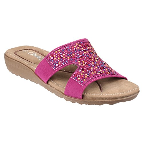Divaz Womens/Ladies Kiti Slip On Embelished Padded Wedge Summer Mules Fuchsia