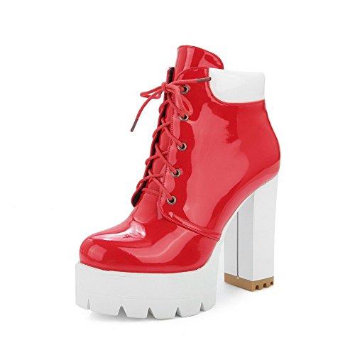Allhqfashion Mujeres Assorted Color High Heels Round Botas De Cordones De Charol Con Punta Cerrada, Rojo, 41