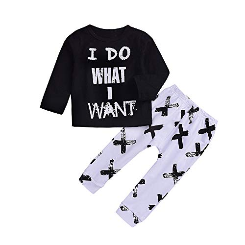 Tronet Baby Homewear Clothes, Autumn Winter Girls Boys Kids Letter Print Top+Long Pants Set Outfit (Black, 120(Age:3-4Years))]()