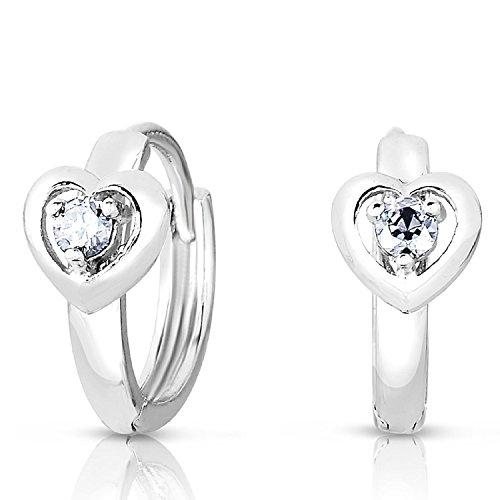 Girls 925 Sterling Silver Cubic Zirconia Heart Design Round Huggie Hoop Earrings (April)