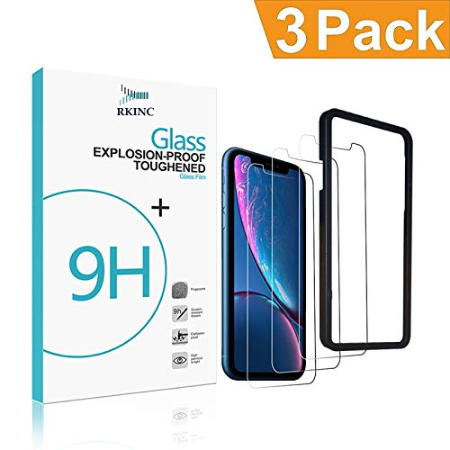 RKINC Screen Protector Apple iPhone Xs Max (Clear, 3 Packs) 0.33mm iPhone Xs Max Tempered Glass Screen Protector Super Clarity [3D Touch] [Installation Tray Included] Case Friendly XS Max