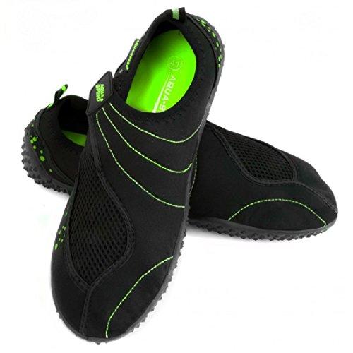 AQUA-SPEED® BEACH-BOY Zapatos Aguamarina (Hombre Kayak Buceo Piscina Natacion) Schwarz / Grün - 15.3