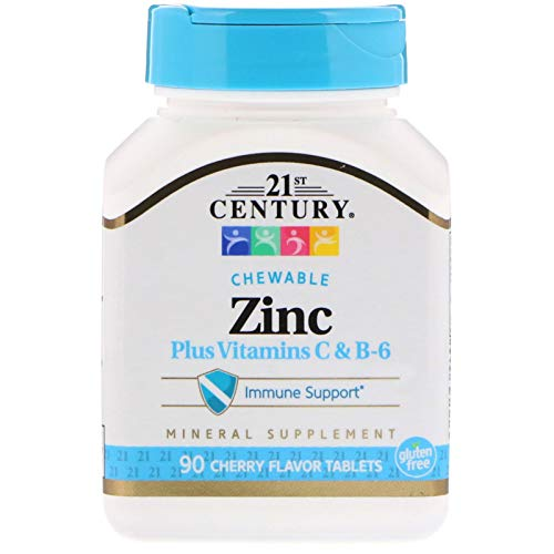 Cherry Zinc Vitamins - 21st Century, Zinc Plus Vitamins C & B-6, Cherry Flavor, 90 Chewable Tablets