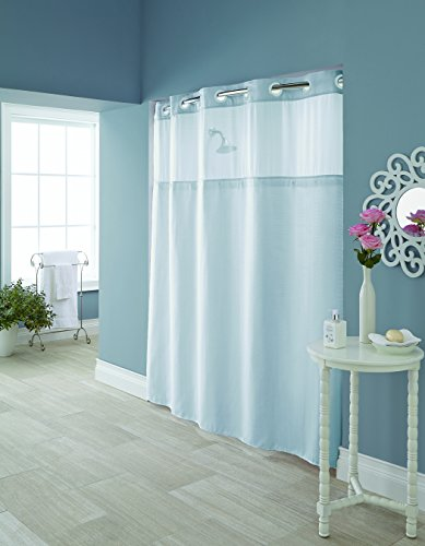 Hookless RBH95MY982 Hudson Herringbone Polyester with PEVA Snap-In Liner and Flex-On Rings Shower Curtain, Starlight Blue ()