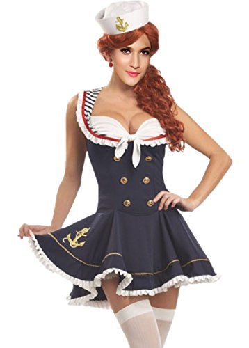 JJ-GOGO Sexy Nautical Costume - Women's Sailor Dress Halloween Fancy Adult Sailor Doll Cosplay Costume