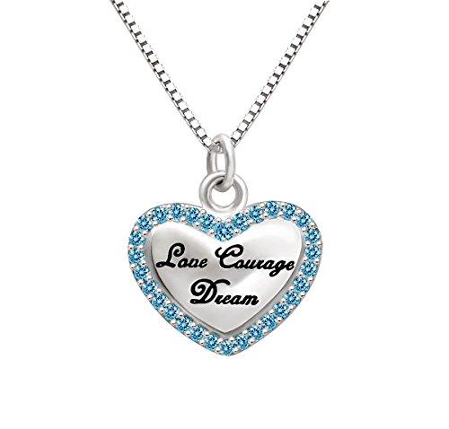 """ALOV Bijoux en argent sterling """"Amour Courage Dream"""" Cendrillon Princesse Cœur Oxyde de Zirconium Pendentif Collier"""