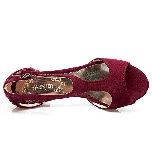 TAOFFEN Mujer Elegante Peep Toe Sandalias Tacon Embudo Tacon Medio T-strap Zapatos De Hebilla Vino Rojo