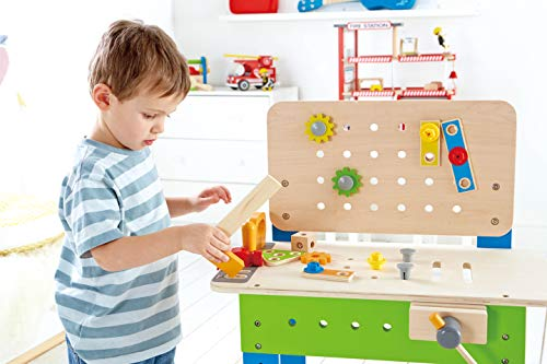 Master Workbench by Hape | Award Winning Kid's Wooden Tool Bench Toy Pretend Play Creative Building Set, Height…
