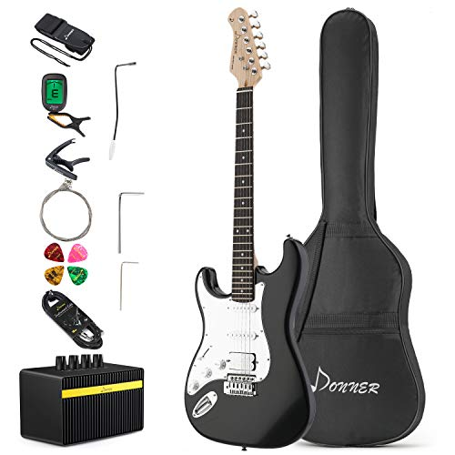 Donner Left Handed Full-Size 39 Inch Electric Guitar Black DST-100BL with Amplifier, Bag, Capo, Strap, String, Tuner, Cable and Pick