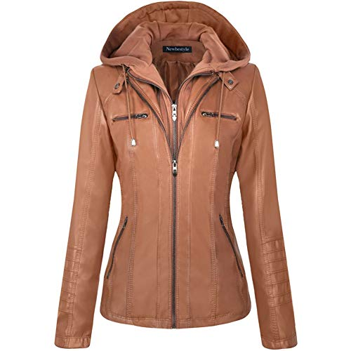 Newbestyle Womens Hooded Faux Leather Moto Biker Short Jacket Quilted Zip Up Coats Brown X-Large