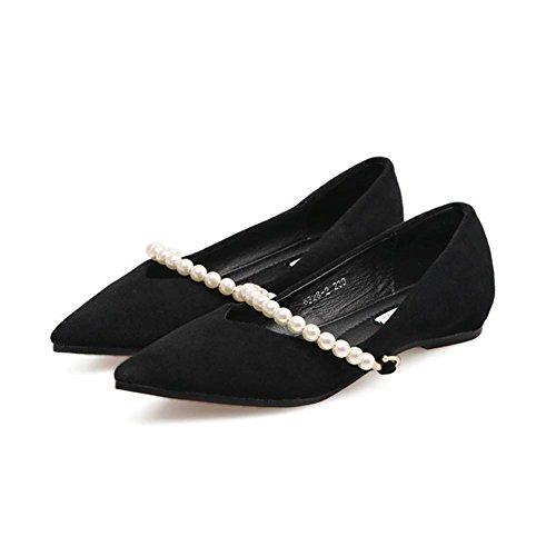 T-july Mocasines Zapatos Para Mujeres - Hebilla De Metal Cómoda Plantilla Slip On Puntiagudo Suede Casual Penny Black