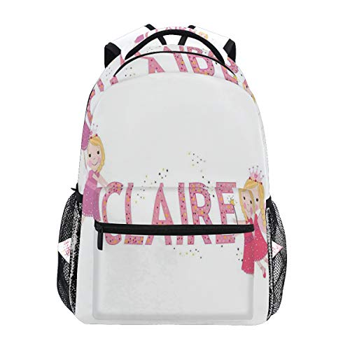 (CANCAKA Claire Pastel Toned Colorful Arrangement Of Fairy Tale Elements With Magic Wands Wings Decorativ Lightweight School Backpack Students College Bag Travel Hiking Camping Bags)