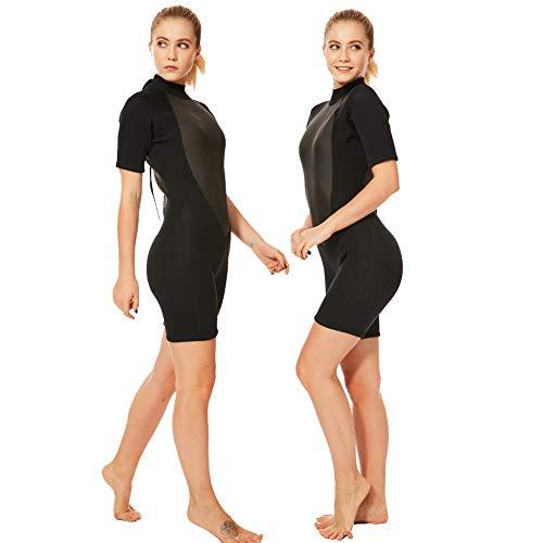 (Realon 2mm Shorty Wetsuit Women CR Neoprene Surfing Scuba Diving Snorkeling Swimming Suit (2mm Shorty Black, Medium))