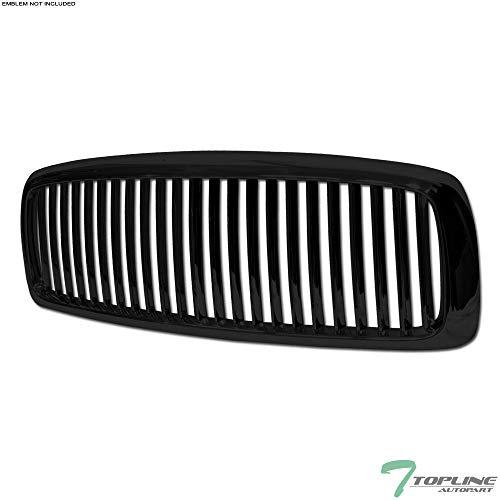 Topline Autopart Black Vertical Front Hood Bumper Grill Grille ABS For 02-05 Dodge Ram 1500/03-05 2500/3500