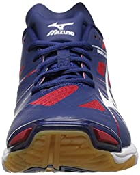 Mizuno Men\'s Wave Lightning Z NY-RD Volleyball Shoe, Navy/Red, 7 D US