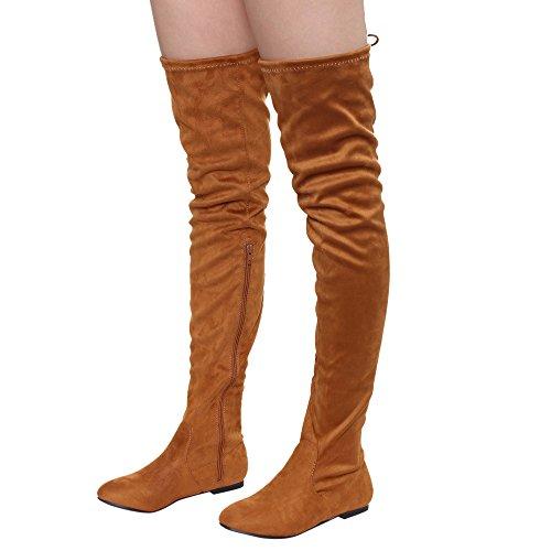 Nature Breeze Damen Vickie Hi Slouchy Overknee Stiefel Kamel