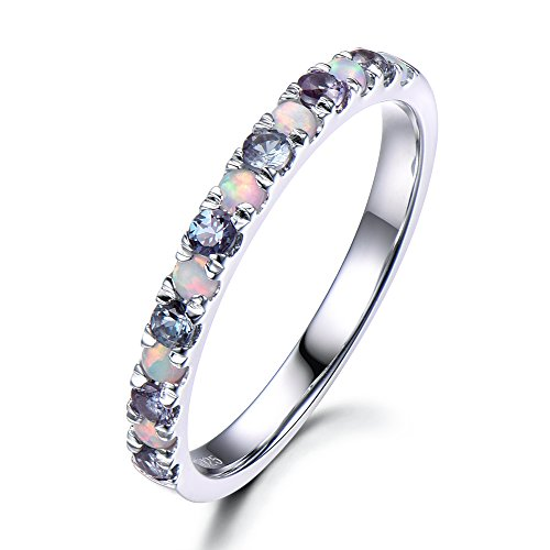 Color Change Alexandrite Opal Wedding Band 925 Sterling Silver Half Eternity White Gold Stacking Ring ()