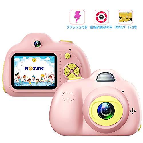 [해외]Rotek 어린이용 디지털 카메라 토이 카메라 자동 촬영 가능 버전업 전후 800만, 3264 * 2448 픽셀 아이 카메라 2 인치 디스플레이, 32G 용량 SD 카드를 붙이고 9000 장의 사진 촬영 가능한 USB 충전, 일본어 설명서 첨부, 작업 화면 일본어 설치. 보...