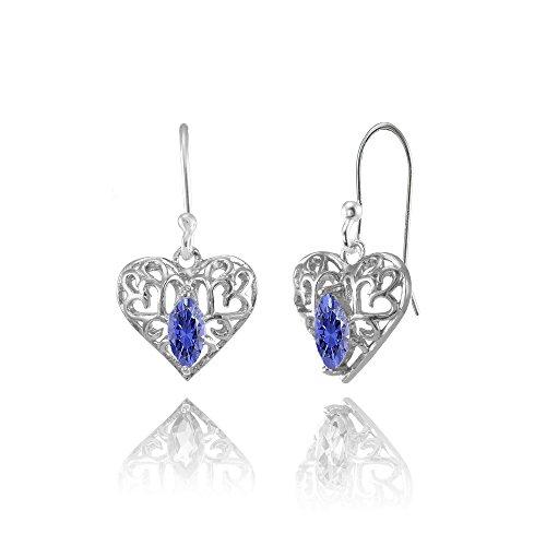 Sterling Silver Tanzanite 6x3mm Marquise Heart Filigree Dangle Earrings