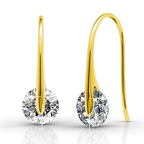 (Cate & Chloe McKayla 18k Gold Plated Dangling Earrings with Swarovski Crystal, Classic Drop Dangle-Earrings, Best Silver Earrings for Women, Small Solitaire Hook Drop Earrings with Swarovski (Gold))
