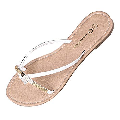 LvRao Mujer Sandalia Plano Chanclas cómodos Verano Zapatillas de Playa Blanco #2