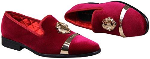Elanroman Heren Fluwelen Loafers Schoen Met Gouden Plaat Slippers Loafers & Slip-ons Roken Slipper Loafer Schoenen Voor Mannen 9 Kleuren Rood