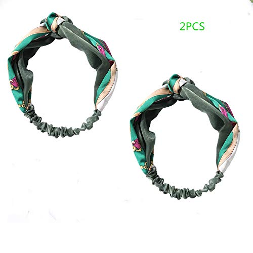 - 2PCS Headdress hair band sweet forest female department washs a face wide edge hair band headband female contracted exceed fairy head band 100 percent match web celebrity (Green)