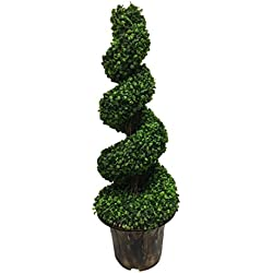 AMERIQUE Gorgeous Wide and Dense Boxwood Spiral Topiary Artificial Tree Silk Plant with UV Protection with Decorative Pot, 4', Emerald Green