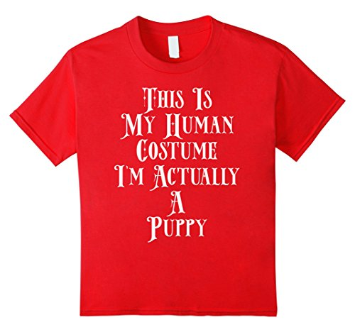 Kids I'm Actually A Puppy Costume Dog Doggo Pup Best Friend Shirt 8 Red