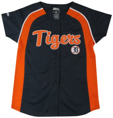MLB Detroit Tigers Girl's Colorblocked Raglan Buttondown Jersey, Navy, Large