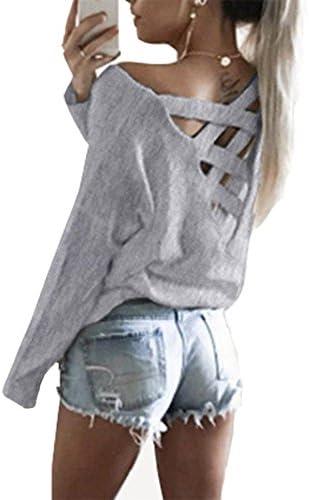 Playera Antopmen para mujer, de verano, con tiras cruzadas en la espalda, calce holgado, mangas largas