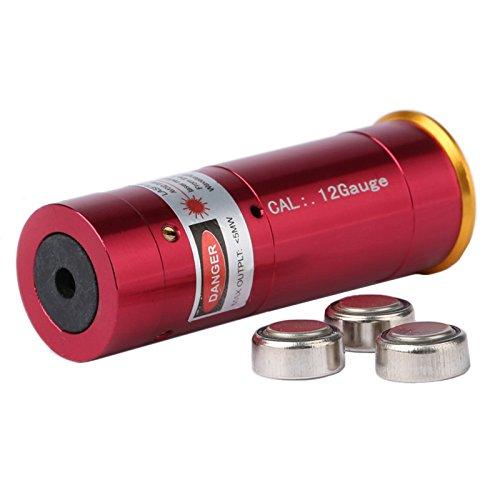 Dophee 12 Gauge Red Dot Laser Cartridge Bore Sighter 12GA Boresighter for Shotgun Rifle