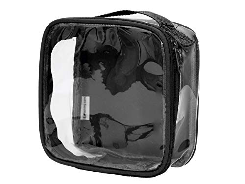 Clear TSA Approved 3-1-1 Travel Toiletry Bag/Transparent See Through Organizer (Black) (All Match Clear Travel Bag)