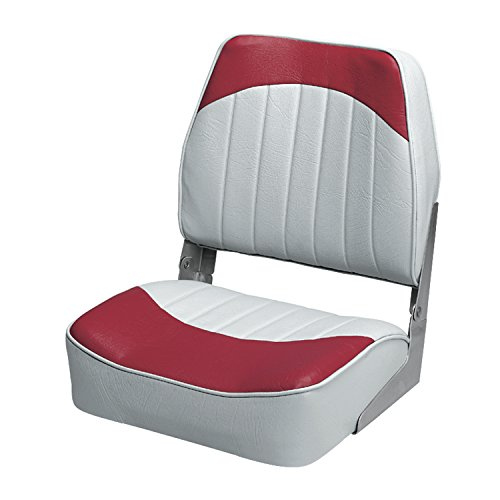 Back Boat Vinyl Seat (Wise Economy Low Back Seat (Grey/Red))
