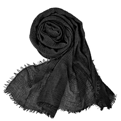 Wobe Women Soft Cotton Hemp Scarf Shawl Long Scarves, Travel Sunscreen Pashmina Fancy Stylish Hijab Scarf Lightweight Warm Big Head Scarves Muslin Pure Color (Black)