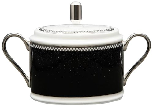 Noritake Pearl Noir Sugar Bowl with Cover, 11-1/2-Ounce