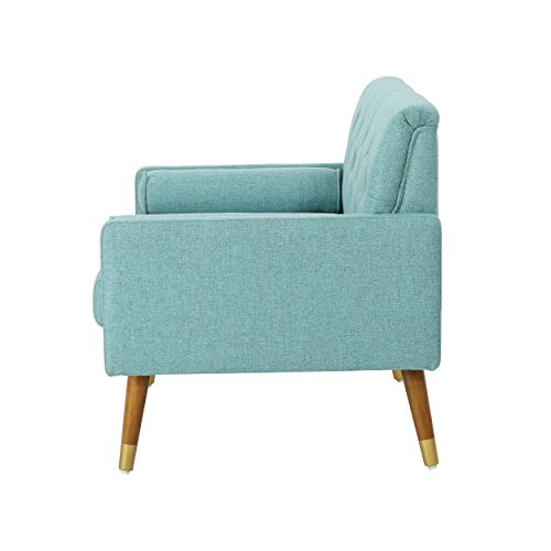 Christopher Knight Home 305842 Nour Fabric Mid-Century Modern Club Chair, Blue, Natural - 8