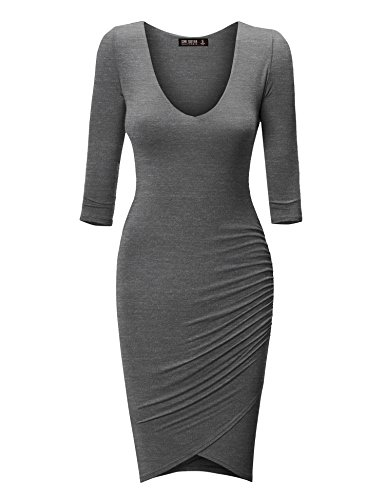 CTC Womens Deep V Neck 3/4 Sleeve Tulip Bodycon Dress M - Charcoal Deep Heather