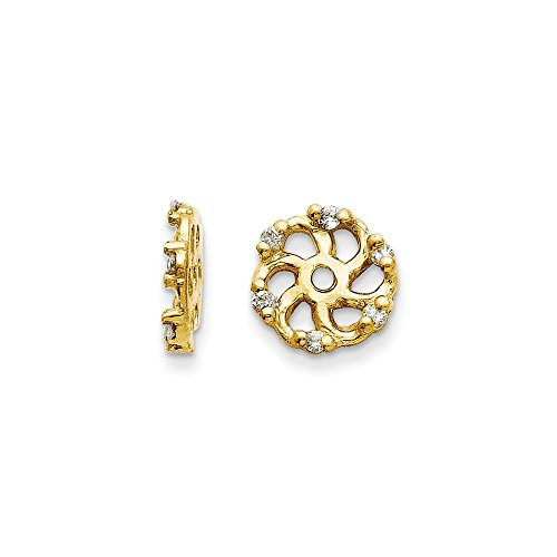 (14k Gold Diamond Removable Swirl Shape Jackets for Stud Earrings - (0.05 ctw, Yellow-Gold))