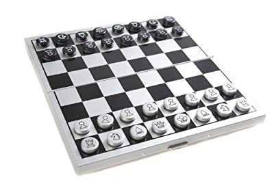 Attica Alu Series: Classic international chess in aluminium box, travel set with magnetic game pieces, playing board 15cm x 14cm x 09cm (XY018P US)