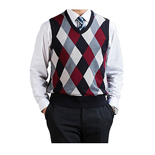 Argyle V-neck Sweater Vest - Fange Men's Argyle V-Neck Sweater Vest Woolen Color Block Knit Business Casual Red XL