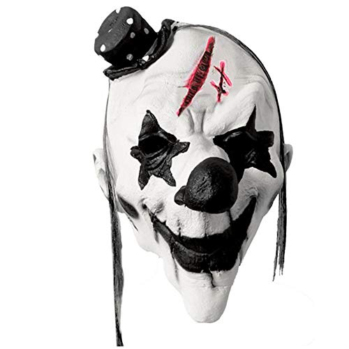 Finerplan White Clown Face Mask Scary Joker Halloween Creepy Horror Party Outfit Spoof Supplies