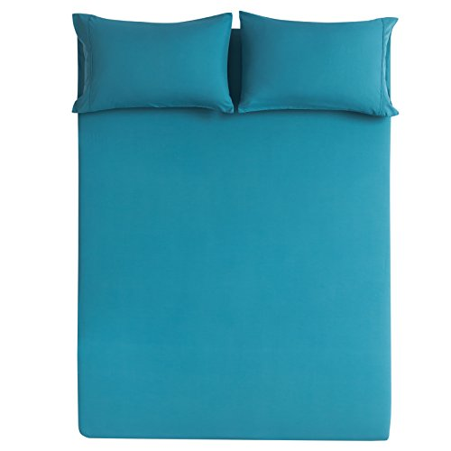 Mohap Bed Sheet Set 4 Pieces Brushed Microfiber Luxury Soft Bedding Queen, Teal (Teal Sheet)