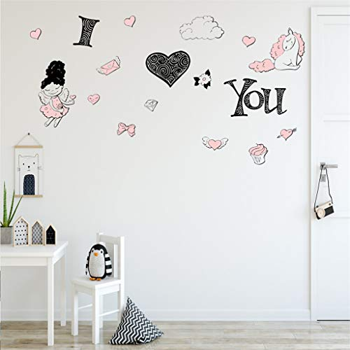 Yliquor Mobile Creative I Love You Cartoon Wall Affixed,with Decorative Wall Window Decoration Home Art DIY Home Decoration for Children Bedroom