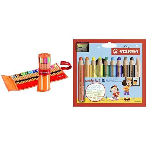 Fineliner - STABILO point 88 - 30er Rollerset - mit 30 verschiedenen Farben inklusive 5 Neonfarben & Buntstift, Wasserfarbe &
