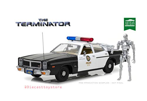 1977 Dodge Monaco Metropolitan Police with T-800 Endoskeleton Figure The Terminator (1984) Movie 1/18 Diecast Model Car by Greenlight 19042